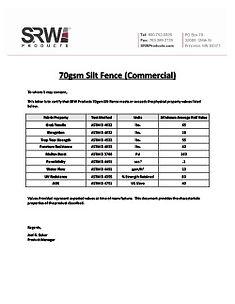 SRW 70gsm Silt Fence- Cert Letter- 2020_