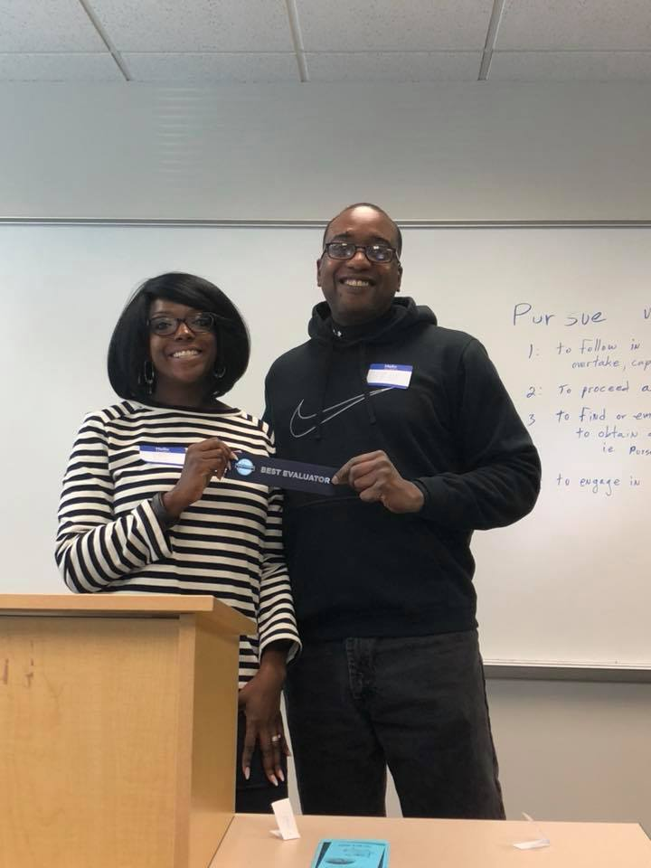 CC and Sam at Toastmasters