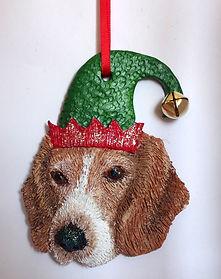 Ophelia, pet portrait, Katherine Cromwell, poole artist, dorset artist, christmas ornament, christmas decoration, polymer clay, beagle, elf dog, santa dog,