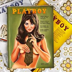 Stack of vintage Playboy (panel 2)