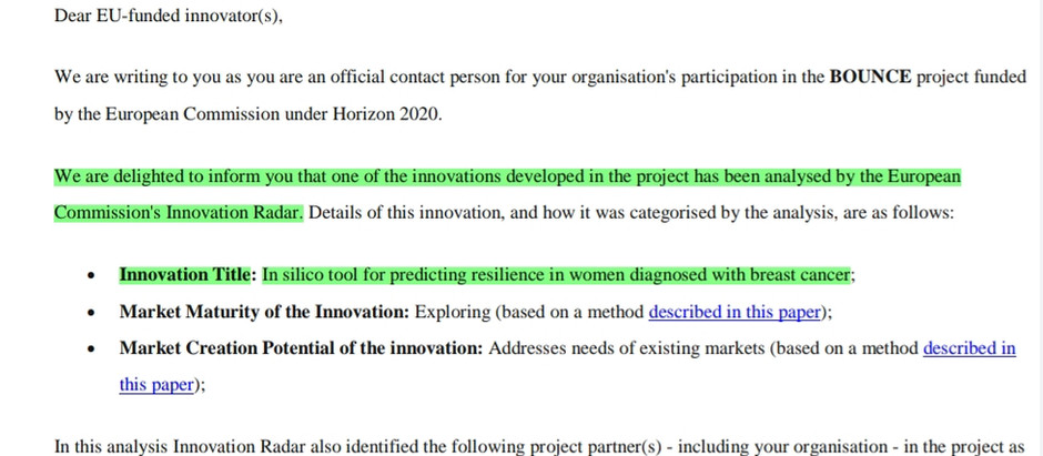 Excellent Innovation: In Silico tool for predicting resilience in women diagnosed with breast cancer