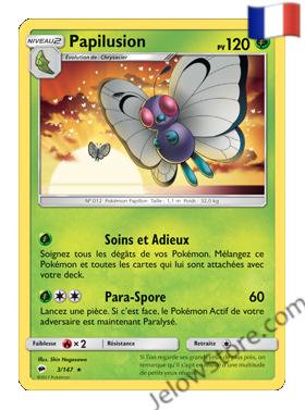 Carte Pokémon SL3 Ombres Ardentes Papilusion Fr 3/147