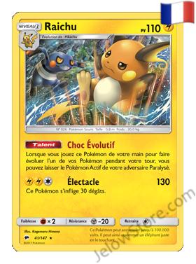 Carte Pokémon SL3 Ombres Ardentes Raichu Holo FR 41/147