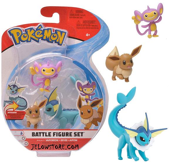 pokemon battle figure set vaporeon eevee aipom