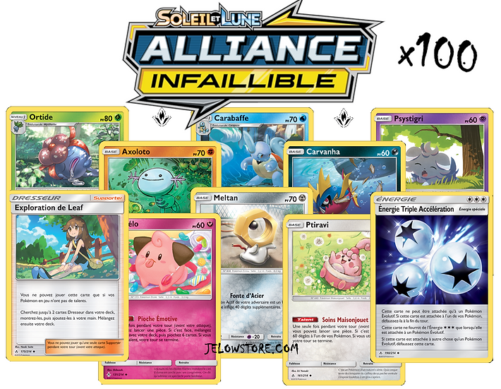lot de cartes pokémon x100 alliance infaillible