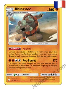 Carte Pokémon SL3 Ombres Ardentes rhinastoc holo FR 67/147