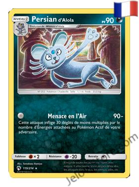 PERSIAN D'ALOLA 119/214 FR SL8 TONNERRE PERDU carte pokémon