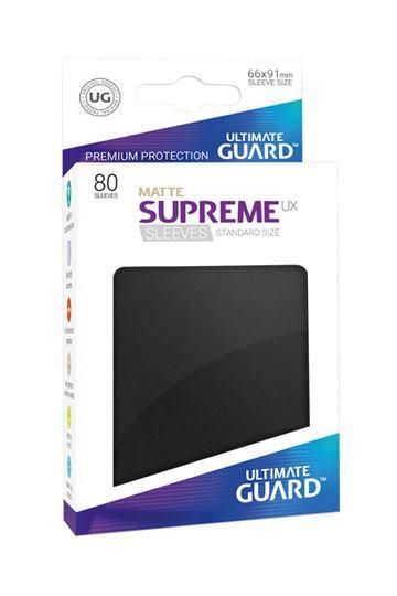 Ultimate Guard 80x pochettes Supreme UX Sleeves Taille Standard - Noir Mat, protection carte pokémon, protection carte magic