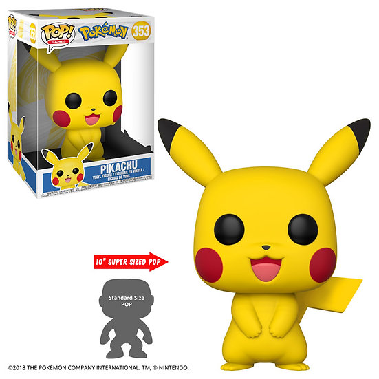"Figurine Funko POP Pokémon - 10"" Pikachu 353 + protection"