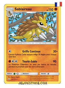 Carte Pokémon SL10 Sablaireau 84/214