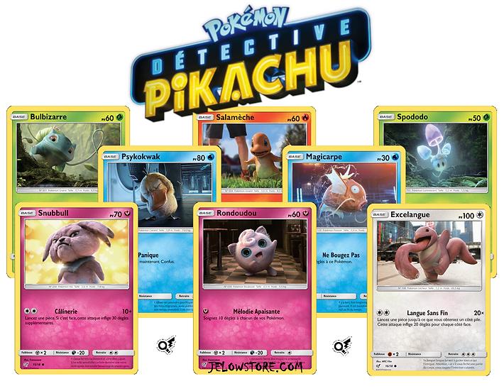 lot de cartes holographiques detective pikachu