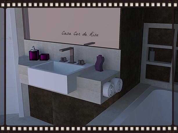 Banho Casal com Bancada em porcelanato