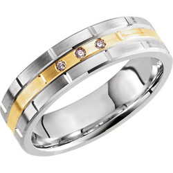 Men's Two-Tone Gold Anniversary Band