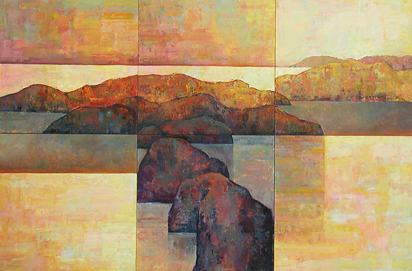 six panel rock water sky abstract
