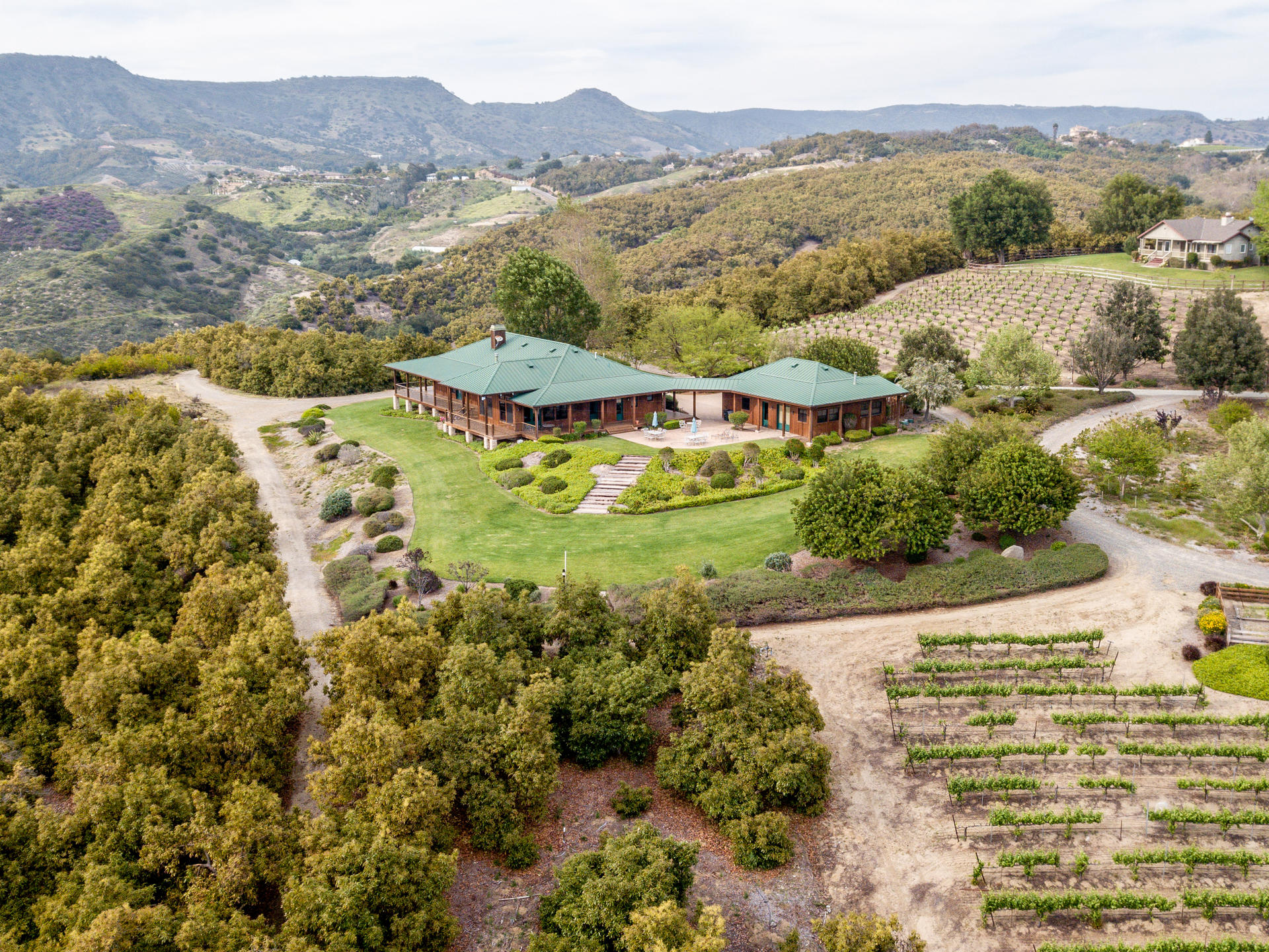 Randhawa Ranch Overview; Lower House and Barn Deck Left. No access to Upper House