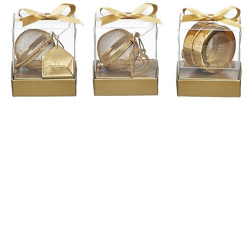 Thee ei in goudkleurig rvs, in geschenkverpakking - 6stuks