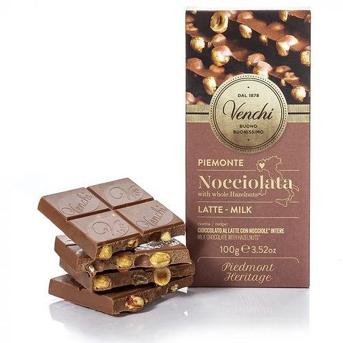 Venchi melkchocoladetablet met hazelnoten - 24stuks