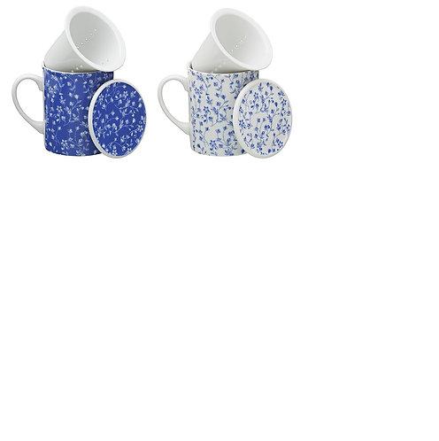 Porseleinen theemok met filter en deksel, blauw/wit  - 3stuks