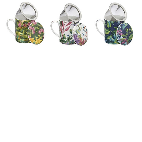 'Botanico' Floreale porseleinen theemok met filter en deksel - 3stuks
