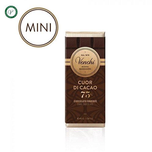 Venchi mini chocoladereep puur 75% - 30stuks