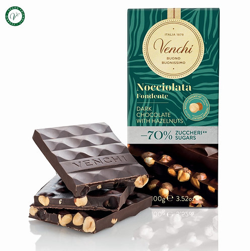 Pure chocoladereep met hazelnoten -70% suiker - 24stuks