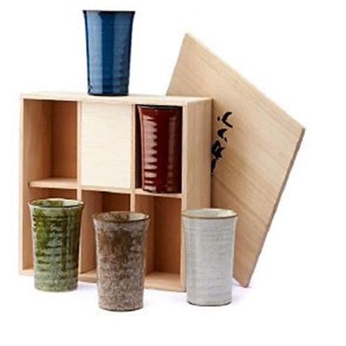 Set van 5 theebekers in houten kist - 1stuk