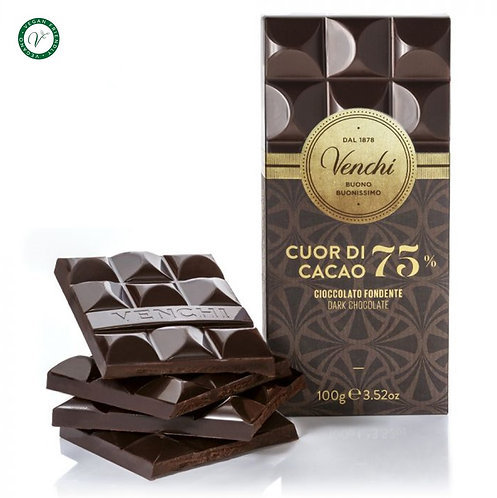 Venchi pure chocoladereep 75% - 24stuks