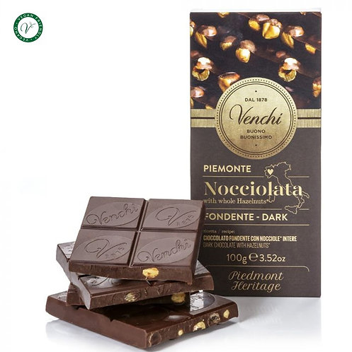 Venchi pure chocoladetablet met hazelnoten - 24stuks