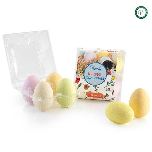 Grote gesuikerde, gekleurde paaseieren in eiertray - 8stuks