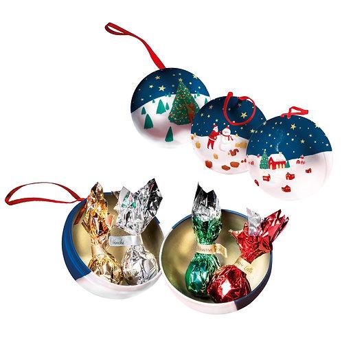 Venchi metalen kerstballen met chocolade - 12stuks
