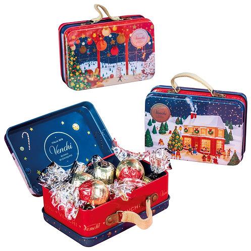 Blauwe mini koffer met chocolade - 8stuks