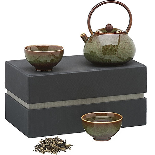 Koreaans theeservies met houten details, groen - 1stuk