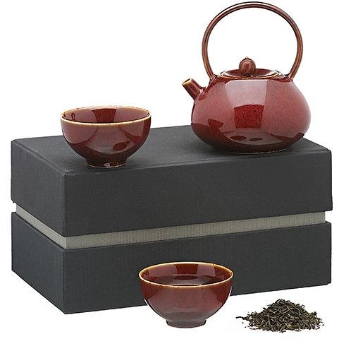Koreaans theeservies met houten details, rood - 1stuk