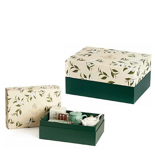 Groene geschenkdoos met Camelia print, leeg - 6stuks