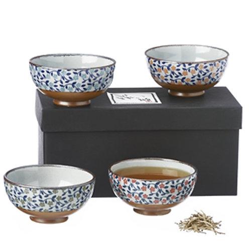 Set van 4 Japanse aardewerk kommen in geschenkdoos - 1stuk