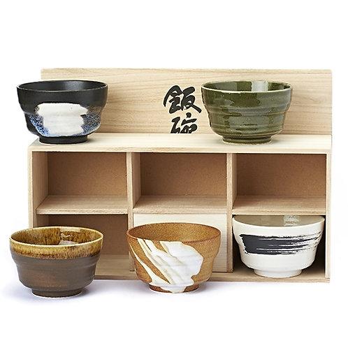 Set van 5 'Akira' theekommen in houten kist - 1stuk