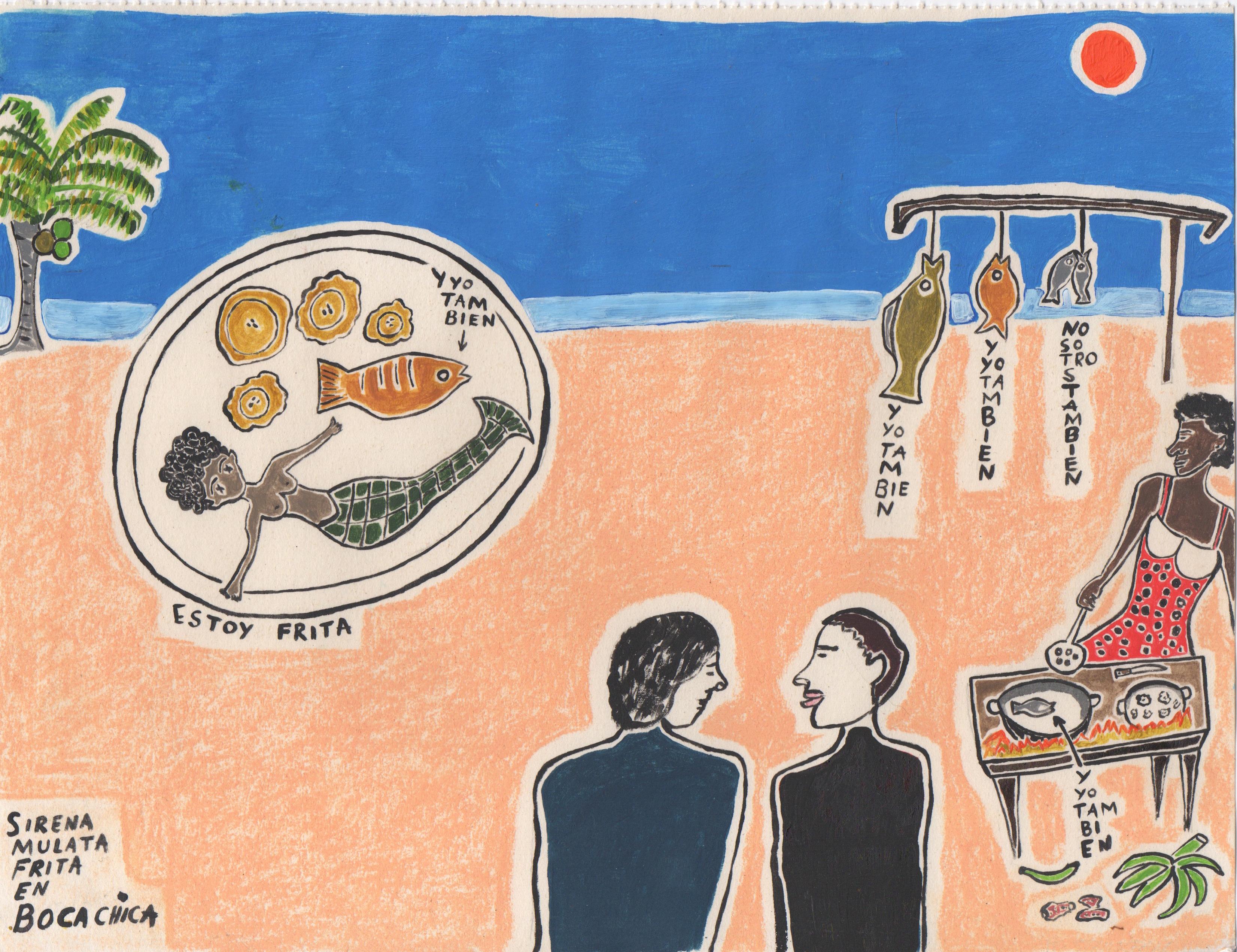 Sirena mulata frita en Boca Chica