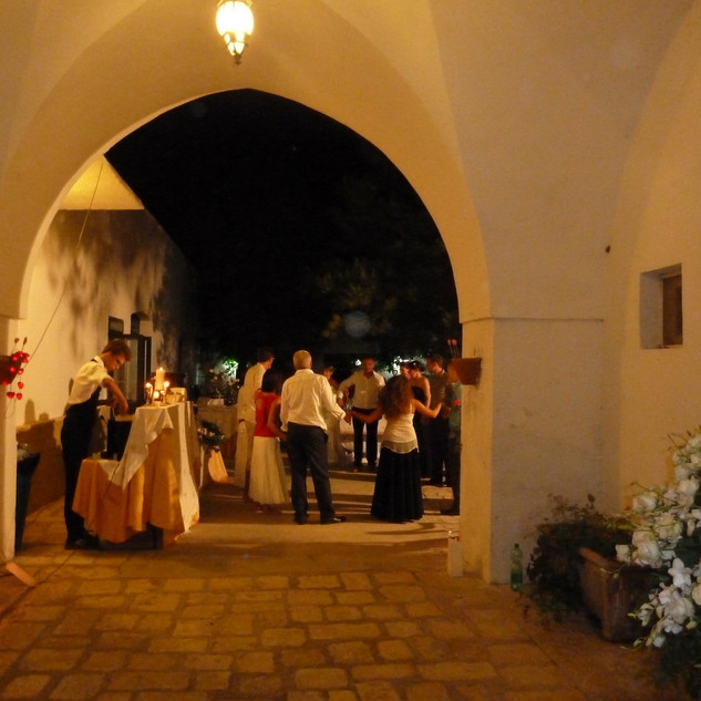 Wedding party in courtyard
