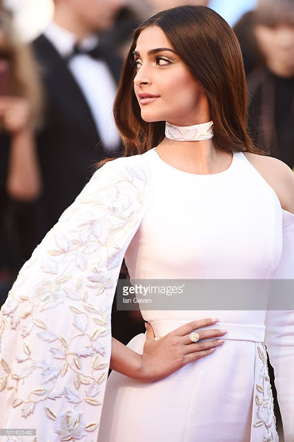 Cannes 2016 and Bollywood !! - Sonam Kapoor in White Ralph and Russo Couture Review - Elegant or lik