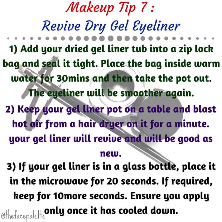 Makeup Tip 7 - Revive Dried Gel Eyeliner using Simple remedies | Makeup Beauty Blog
