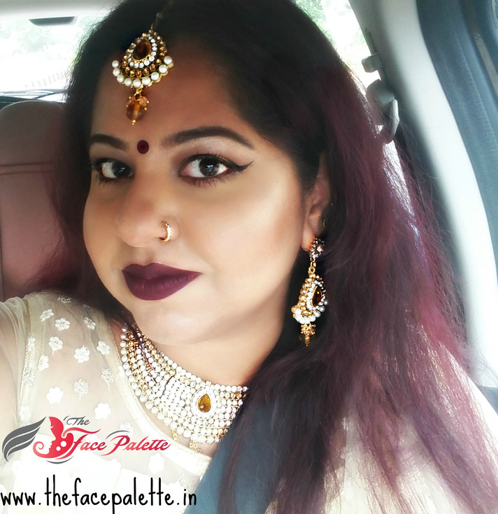 Makeup Look - Traditional Indian Makeup using Gold Tones, winged liner and Dark Lips | The Face Pale