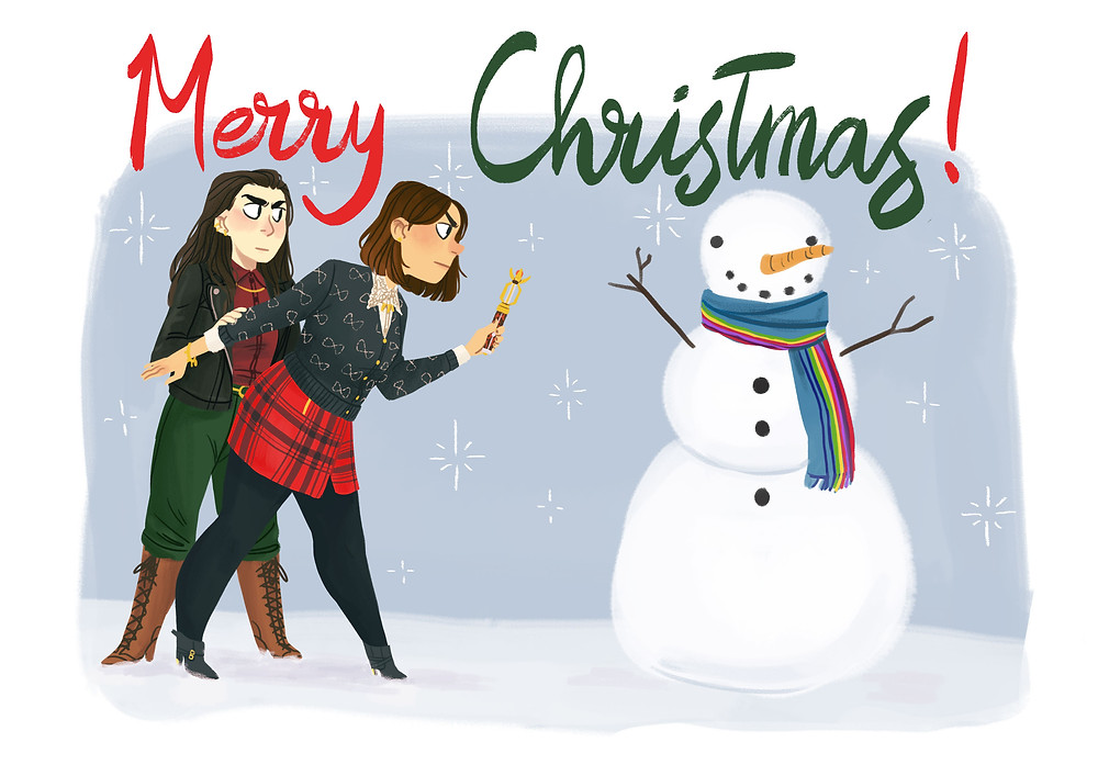 Jo Bee's Christmas art of Me, Clara and a snowman