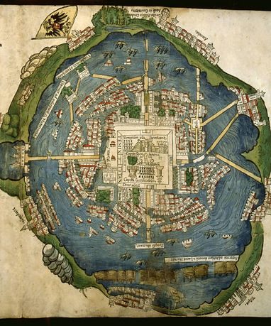 Image credit: Woodcut map and plan of Tenochtitlán, in Praeclara de Nova maris Oceani Hyspania Narratio (Nuremberg, F. Peypus, 1524). Courtesy of Edward E. Ayer Collection, The Newberry Library
