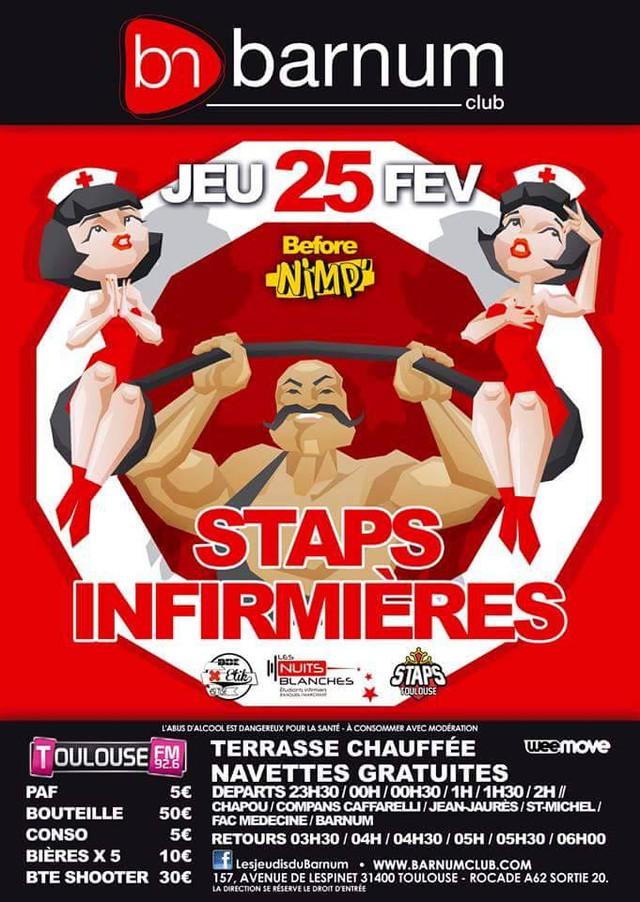 Soirée STAPS / Infirmières! Plutôt blouse blanche ou short/basket?...