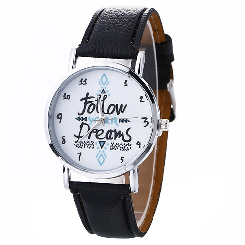 Women's Casual Play Watch (Follow Your Dreams) Black Leather Band – Quartz