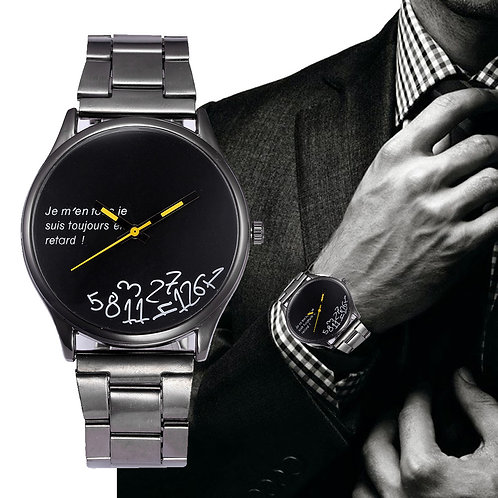 Men's Fashion Watch - (I am late and I don't care) - Black Face