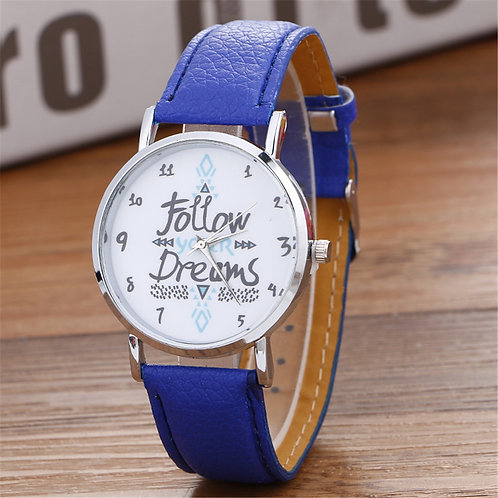 Women's Casual Play Watch (Follow Your Dreams) Blue Leather Band – Quartz