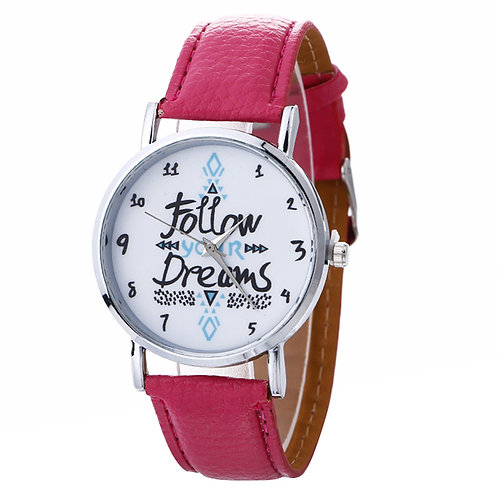 Women's Casual Play Watch (Follow Your Dreams) Red Leather Band – Quartz