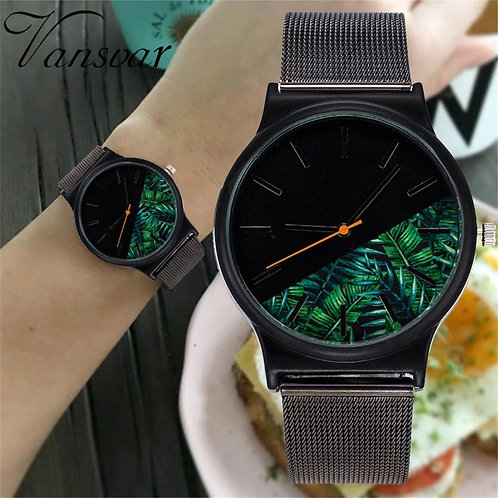 Men's Casual Quartz Stainless Steel Palm Leaves Design