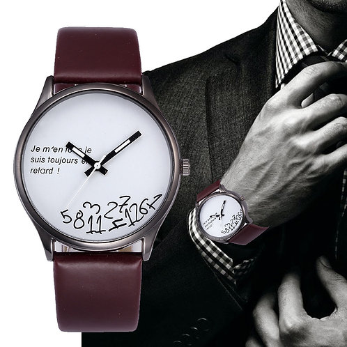 Men's Fashion Watch - (I am late and I don't care) - White Face